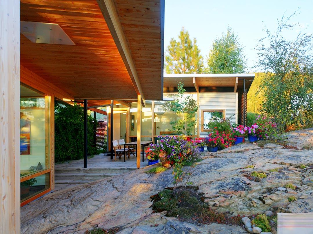 Maurer Garden rock slab patio area xeriscape garden makeover
