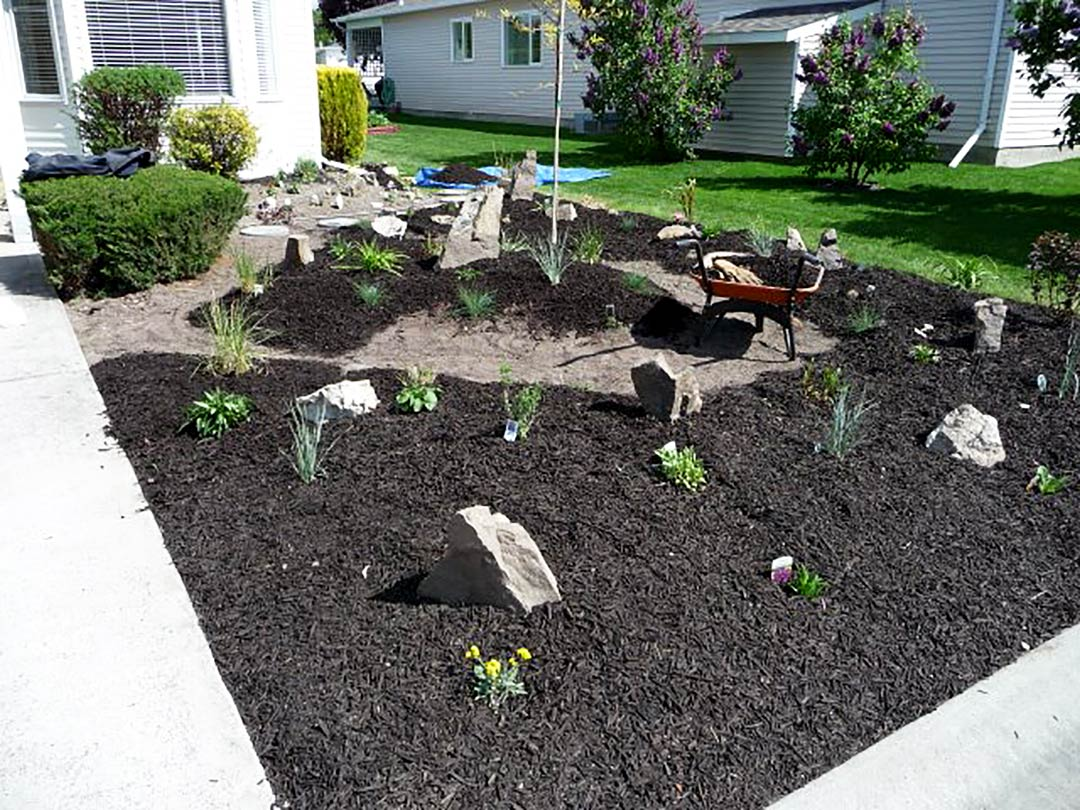 Spreading mulch through the  Goreski garden